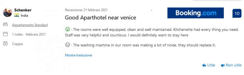 Reviews from people who have actually stayed at the Venice Residence